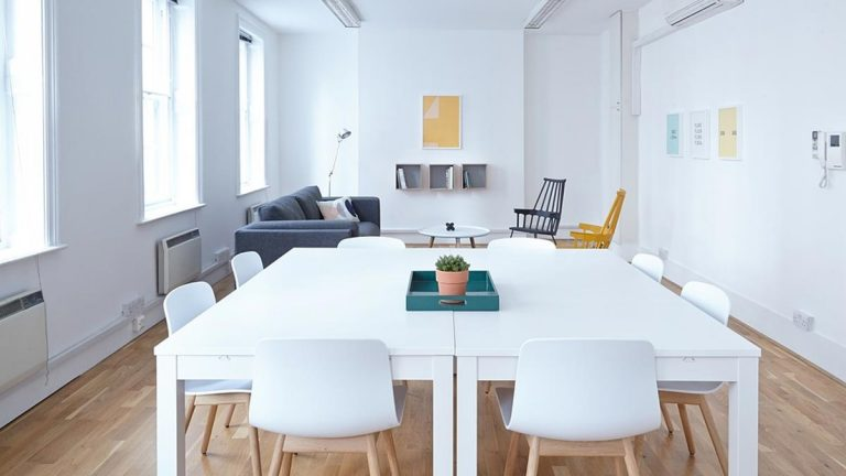 white room business office table