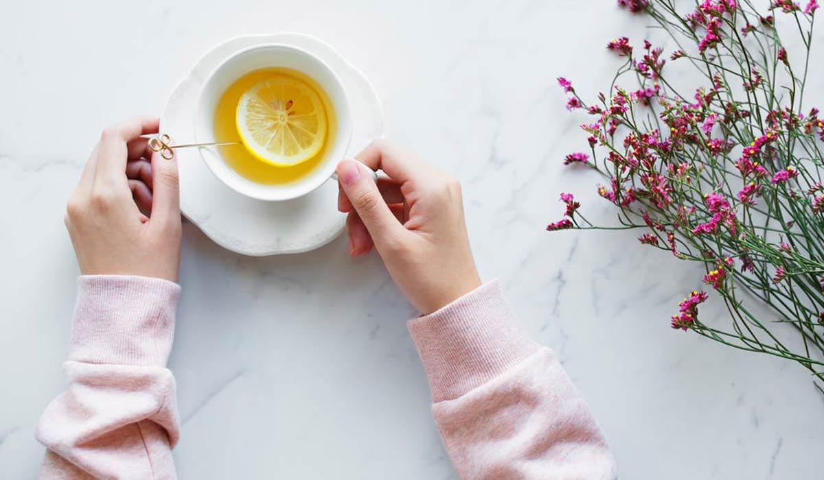 Lemonade Juice Filled White Ceramic Cup